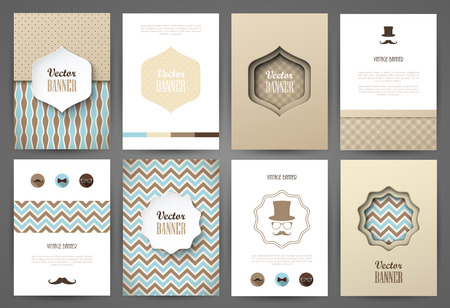 Set of brochures in vintage style. Vector design templates. Vintage frames and backgrounds.  イラスト・ベクター素材