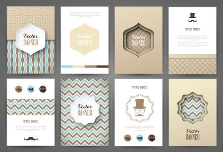 brochure: Conjunto de folletos en el estilo vintage. Vector plantillas de diseño. Marcos y fondos de la vendimia.