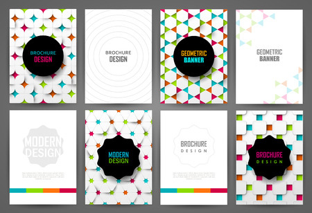 Set of bright brochure templates. Backgrounds with geometric pattern.