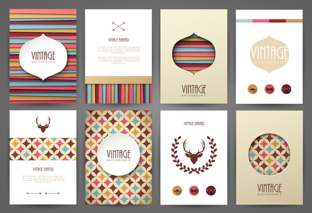 estilo: Conjunto de folletos en el estilo vintage. Vector plantillas de diseño. Marcos y fondos de la vendimia.