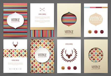 coiffer: Ensemble de brochures en style vintage. Vector design modèles. Cadres et milieux vintages. Illustration