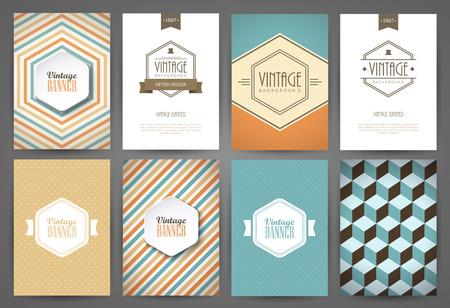 Set of brochures in vintage style. Vector design templates. Vintage frames and backgrounds. Vettoriali