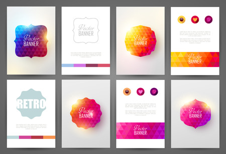 Set of bright brochures templates. Vintage frames and backgrounds. Çizim