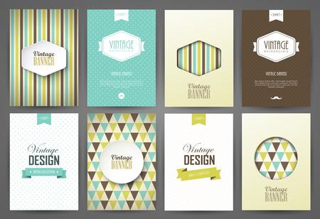 portadas: Conjunto de folletos en el estilo vintage. Vector plantillas de diseño. Marcos y fondos de la vendimia.