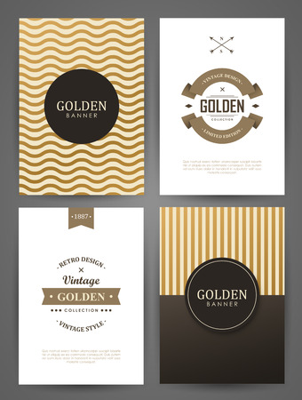 Set of brochures in vintage style. Vector design templates. Vintage frames and backgrounds. 向量圖像