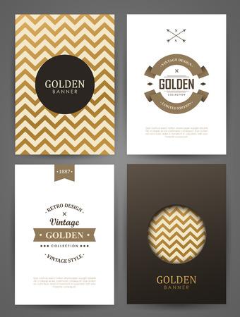 Set of brochures in vintage style. Vector design templates. Vintage frames and backgrounds.  イラスト・ベクター素材