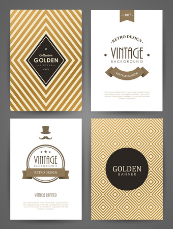 Conjunto de folletos en el estilo vintage. Vector plantillas de diseño. Marcos y fondos de la vendimia. Foto de archivo - 44292357