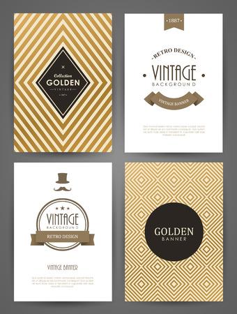 Set von Broschüren im Vintage-Stil. Vector Design-Vorlagen. Vintage-Rahmen und Hintergründe. Standard-Bild - 44292357