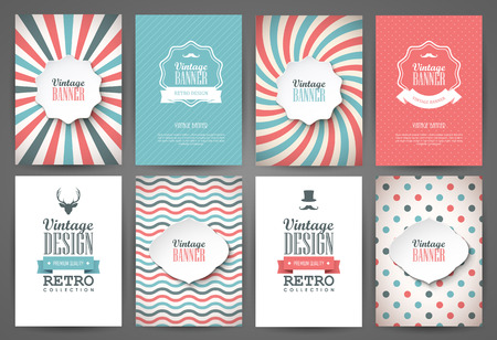 Set of brochures in vintage style. Vector design templates. Vintage frames and backgrounds. Illusztráció