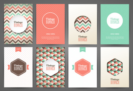 Set of brochures in vintage style. Vector design templates. Vintage frames and backgrounds. Vectores