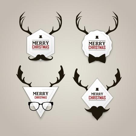 Christmas hipster labels set