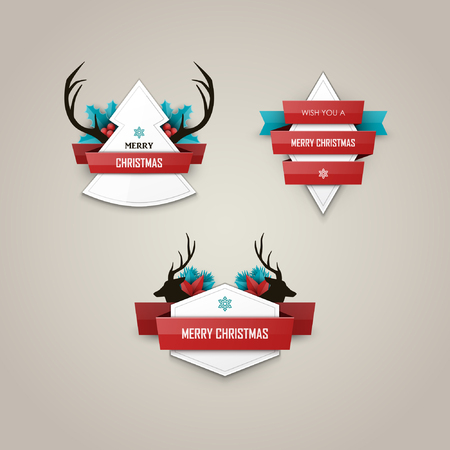 decorative card symbols: Christmas labels set