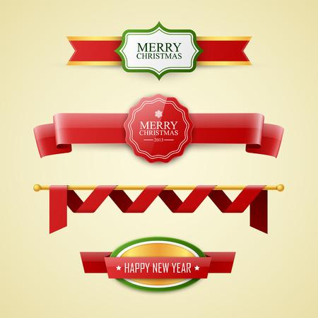 background banner: Christmas labels set