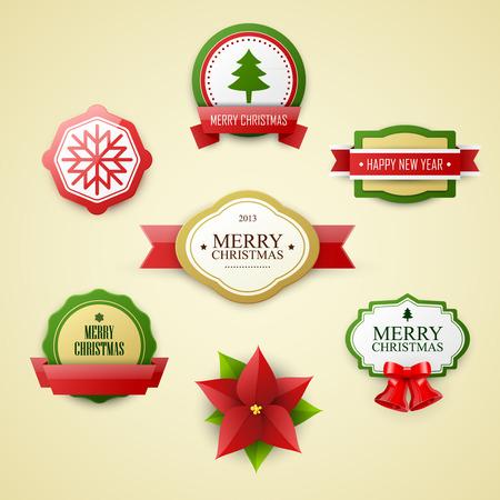 ribbon vector set: Christmas labels set