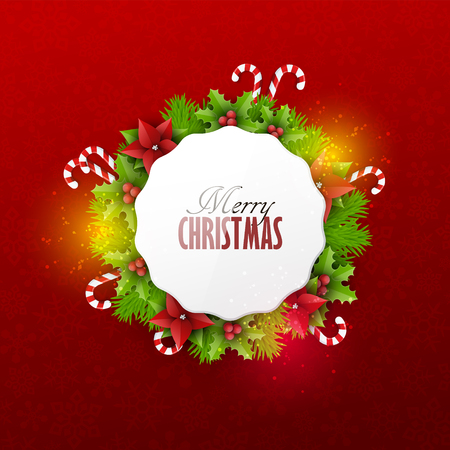 Christmas card with fir twigs and decoration elements Vectores