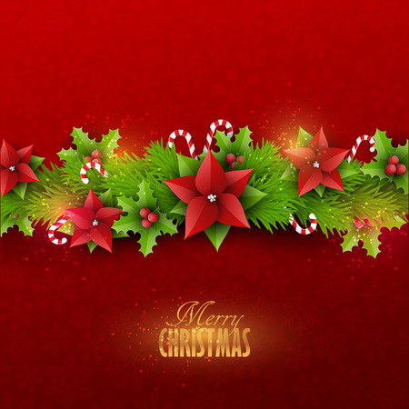 Christmas card with fir twigs and decoration elements Vettoriali