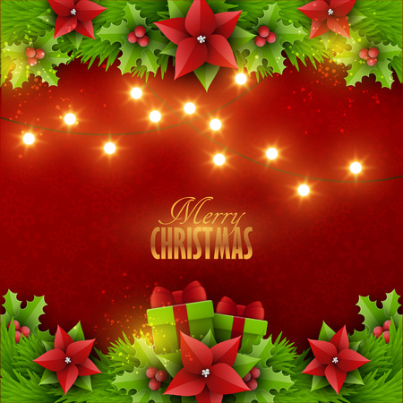 Christmas background with fir twigs and decoration elements