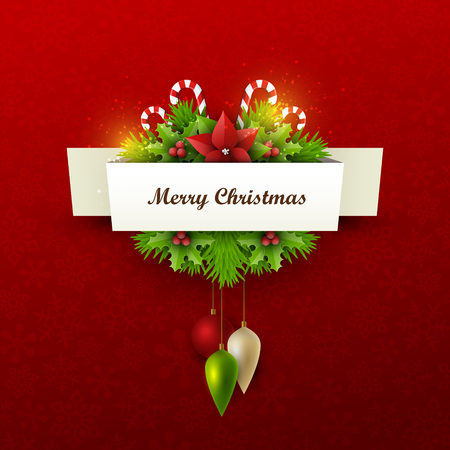 twigs: Christmas background with fir twigs and decoration elements