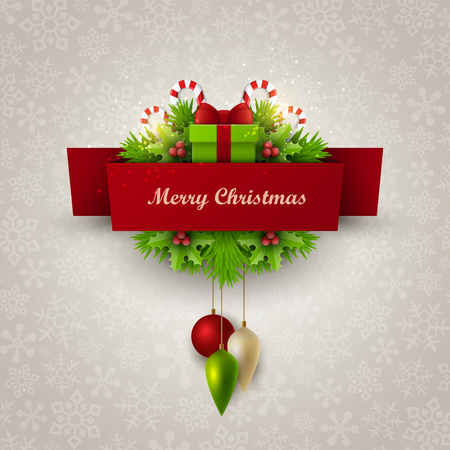 Christmas background with fir twigs and decoration elements Imagens - 47388981