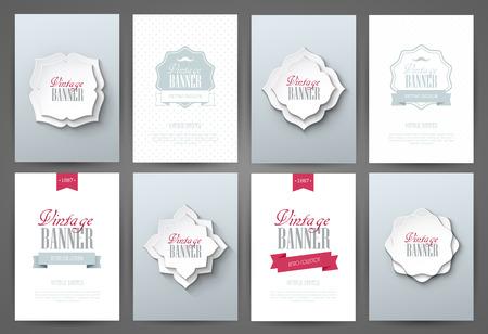 collections: Set of brochures in vintage style. Vector design templates. Vintage frames and backgrounds. Illustration