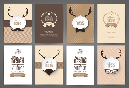 page layout: Set of brochures in vintage style. Vector design templates. Vintage frames and backgrounds. Illustration