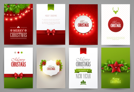 seasons greeting card: Christmas backgrounds set