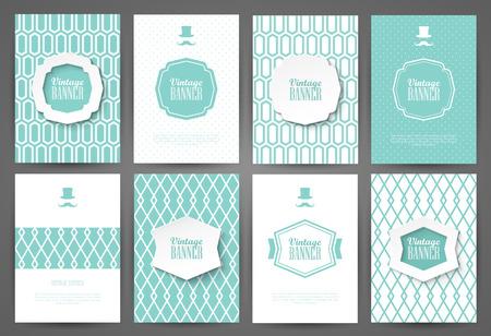collection: Conjunto de folletos en el estilo vintage. Vector plantillas de diseño. Marcos y fondos de la vendimia.