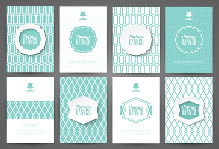 covers: Set of brochures in vintage style. Vector design templates. Vintage frames and backgrounds. Illustration