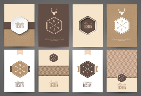 Set of brochures in vintage style. Vector design templates. Vintage frames and backgrounds. Çizim