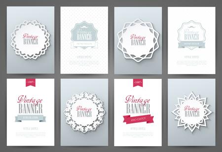Set Of Brochures In Vintage Style. Vector Design Templates. Vintage ...