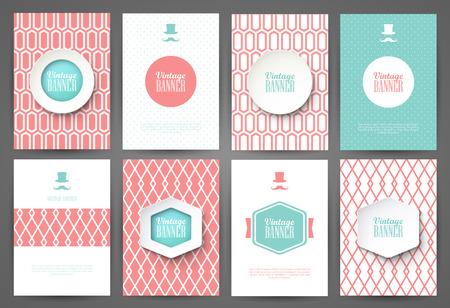 Set of brochures in vintage style. Vector design templates. Vintage frames and backgrounds. Çizim