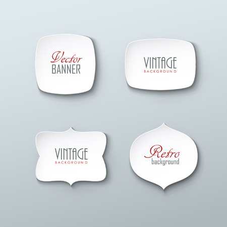 label: Set of paper labels in vintage style