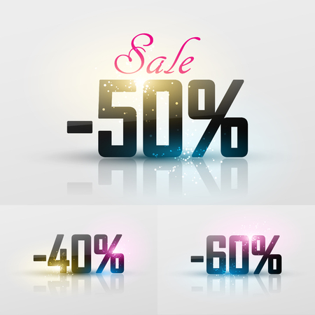 Vector glossy sale percents