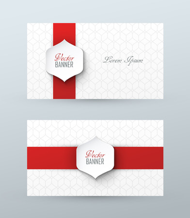 white ribbon: Stylish vector business cards