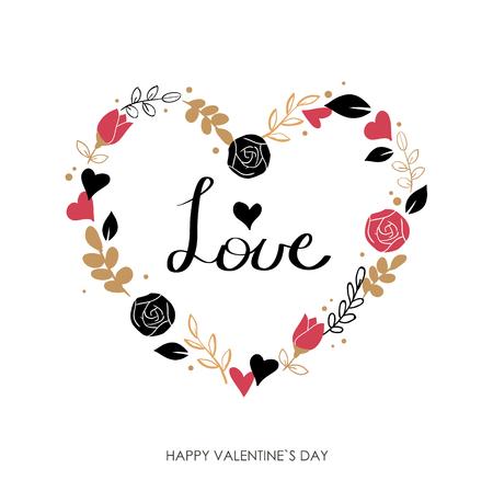 saint: Valentines Day greeting card. Modern calligraphy. Hand drawn design elements. Handwritten lettering. Illustration