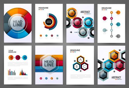 Satz infographic Designschablonen. Broschüren Design. Helle moderne Hintergründe. Design-Elemente.