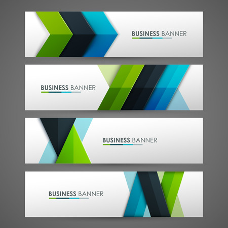 horizontal lines: Set of banner templates. Bright modern abstract design.