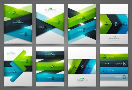 cover background time: Set of infographic design templates. Brochure design. Bright modern backgrounds. Design elements. Illustration