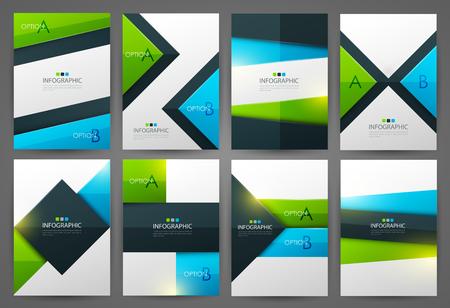 Set of infographic design templates. Brochure design. Bright modern backgrounds. Design elements. Çizim