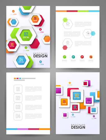 magazine page: Set of brochure design templates. Design elements. Bright modern backgrounds.