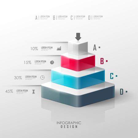 grafica de barras: pirámide de vector para el diseño infografía o en la web Vectores