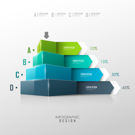 board: Vector pyramid for infographic or web design