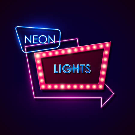 neon light: Retro neon sign. Vector illustration.