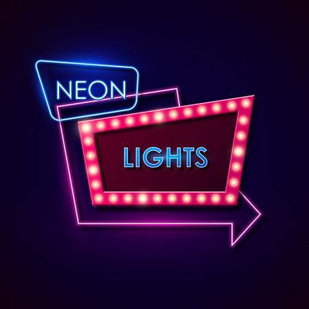 segno: Retro segno al neon. Illustrazione vettoriale.