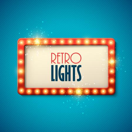 Retro banner met glanzende lichten. Vector illustratie.