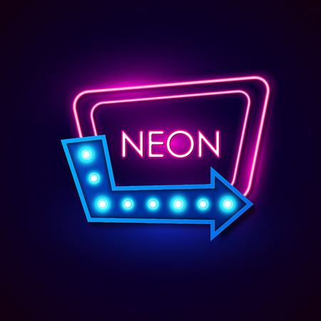 Retro neon sign. Vector illustration. Imagens - 56831520