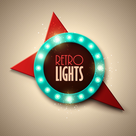 glowing: Retro banner with shining lights. Vector illustration.