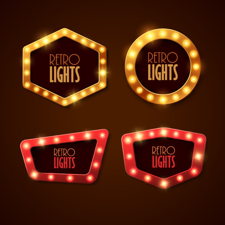 neon light: Set of banners in vintage style. Frames with shining lights. Vector illustration. Illustration