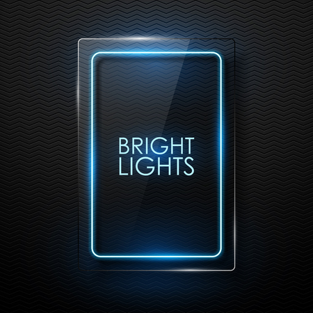 black banner: Vector glass banner with neon glowing. Illustration