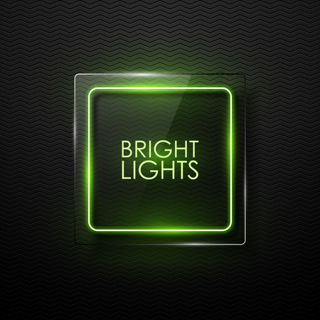 bright light: Vector glass banner with neon glowing. Illustration